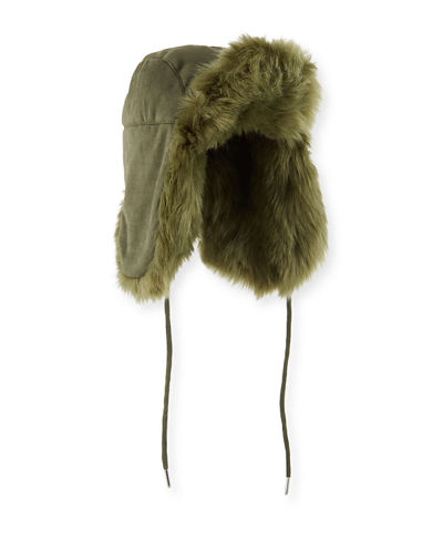 Fashion Helmet Trapper Hat w/ Faux Fur Lining