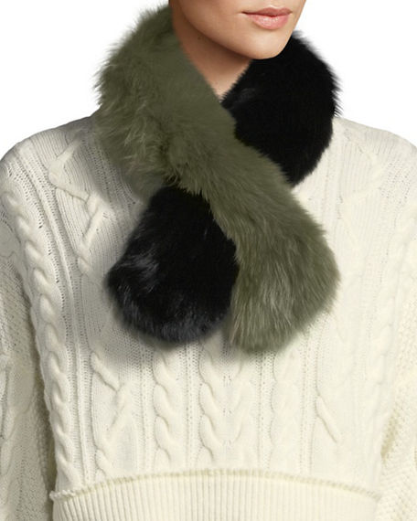 Charlotte Simone POLLY POP TWO-TONE FUR SLIP-THROUGH SCARF