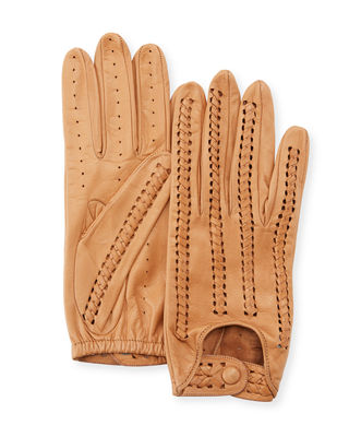 Woven Napa Leather Driving Gloves, Sahara