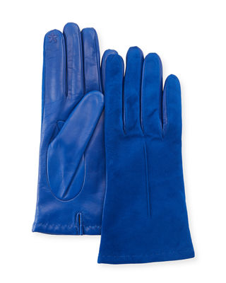 Tech Suede & Napa Leather Short Gloves, Blue Sail