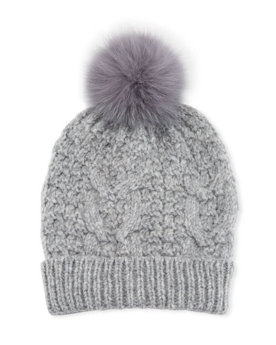 4c346aa84c9 Quick Look. Il Borgo · Cable Knit Beanie Hat w  Fur Pompom