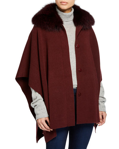 Button-Front Cashmere Cape w/ Fur Collar