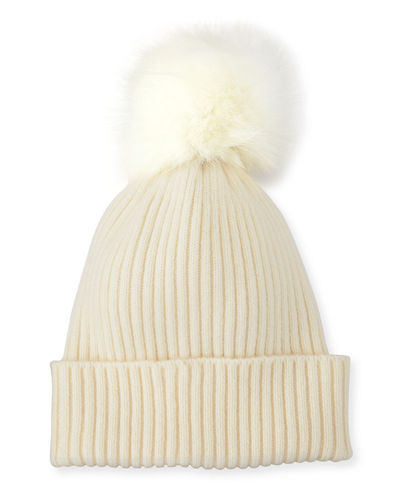 Ribbed Beanie with Fox Fur Pompom