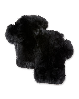 SURELL Fingerless Fur Mittens in Black