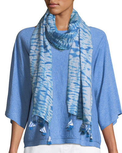 Shibori Striped Organic Cotton Scarf
