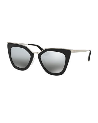 Prada Mirrored Square Cat-Eye Sunglasses
