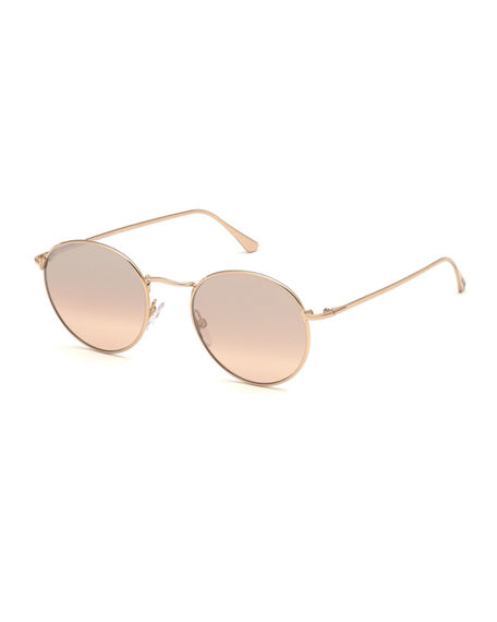 95924b2d944 Shop Tom Ford Ryan Round Metal Sunglasses In Rose Gold Silver