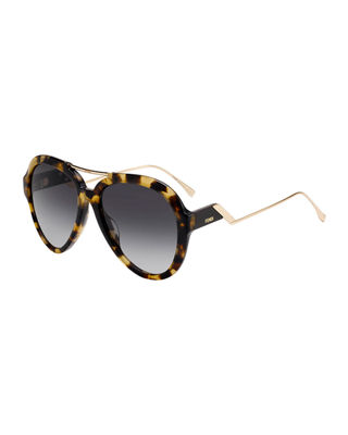 Fendi Acetate & Metal Aviator Sunglasses