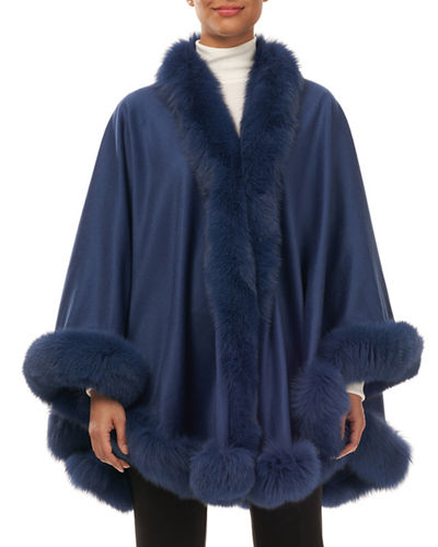 Cashmere Cape with Fox-Fur Trim