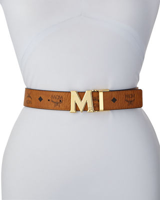 Reversible M-Buckle Belt - Silvertone Buckle in Cognac