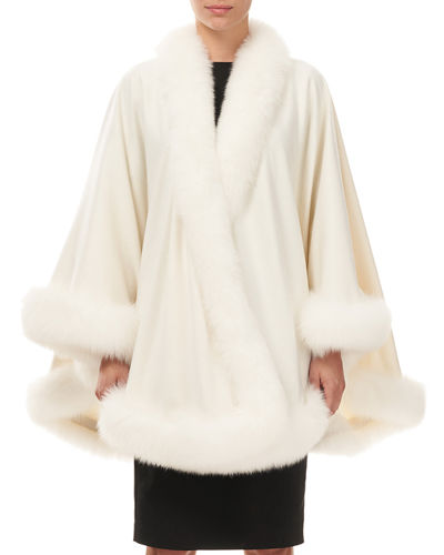 Gorski Cashmere Fox-Trim Cape