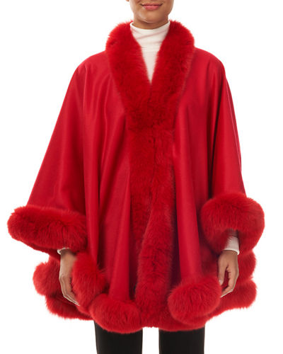 Cashmere Fox-Trim Cape
