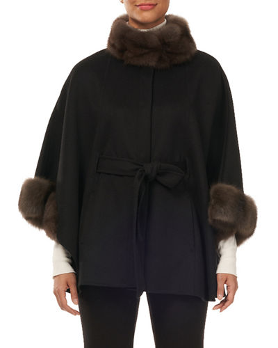 Cashmere Belted Cape w/ Sable Collar and Cuffs