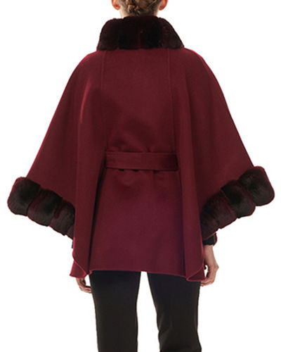 Gorski Belted Cashmere Cape Coat w/ Chinchilla Collar & Cuffs