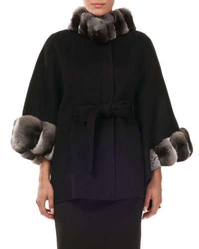 Belted Cashmere Cape Coat w/ Chinchilla Collar & Cuffs