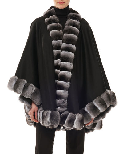 Cashmere Chinchilla-Trim Cape