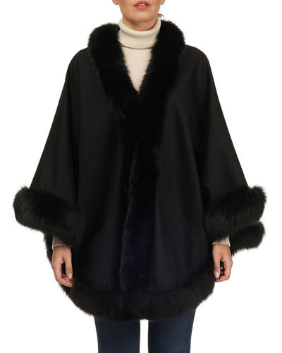 Gorski Cashmere Capelet with Fox Fur