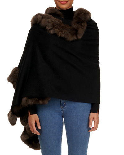 Cashmere Stole with Sable-Fur Trim