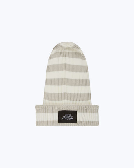 Marc Jacobs Redux Grunge Collection Striped Cotton Beanie Hat In White Gray 8761bace56ef