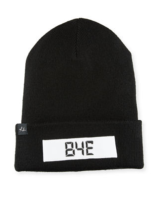 "Addison ""Hello"" Digital Wool Beanie Hat, Black"