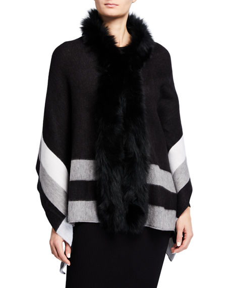 Image 2 of 3: Kelli Kouri Fur-Collar Wrap