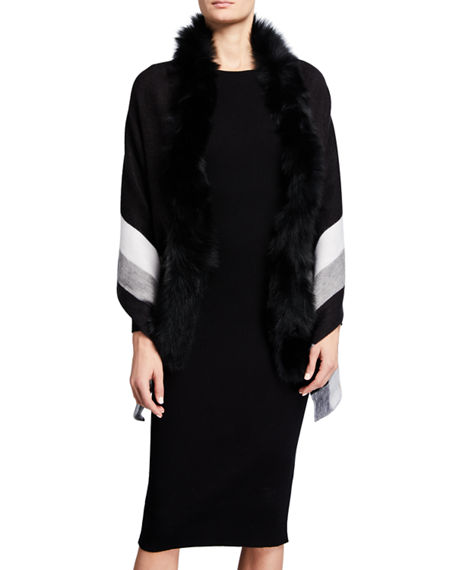 Image 1 of 3: Kelli Kouri Fur-Collar Wrap