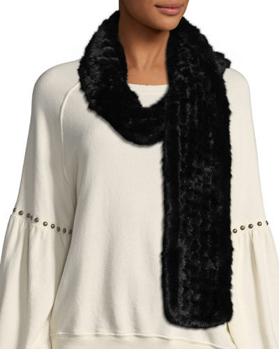 Grid Knit Mink-Fur Scarf