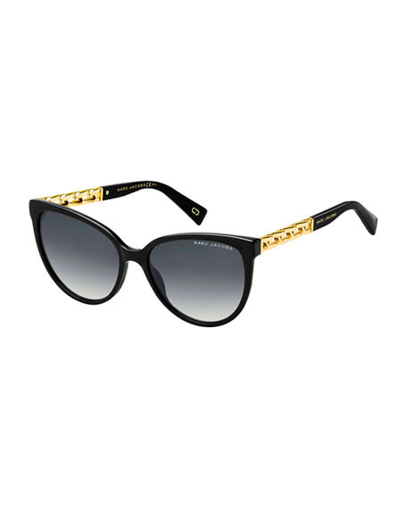 The Marc Jacobs Round Gradient Sunglasses w/ Curb Chain Arms