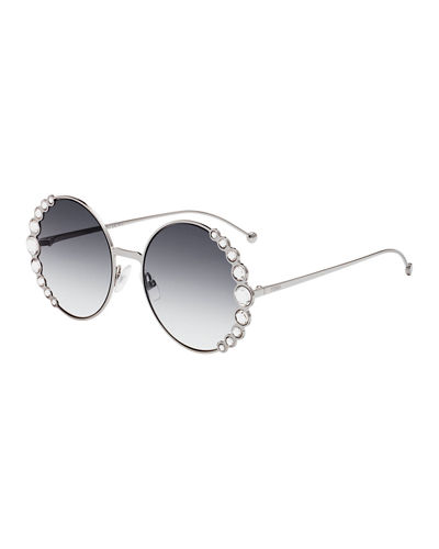 Round Crystal-Trim Metal Sunglasses
