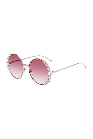 Fendi Round Crystal-Trim Metal Sunglasses