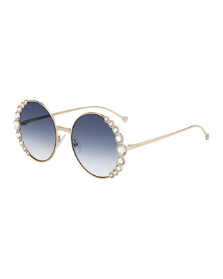 Round Crystal-Trim Metal Sunglasses in Light Gold/Blue