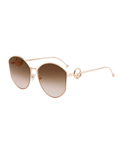 Round Gradient Metal Sunglasses
