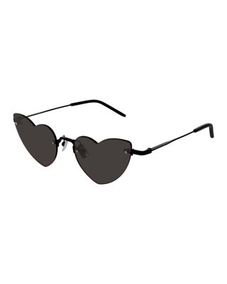 Loulou Rimless Heart Sunglasses in Black