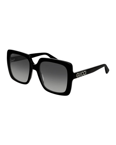 bb9d1338859 Quick Look. Gucci · Square Acetate Sunglasses w  Swarovski Crystal Logo  Temples