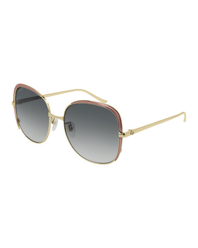 Gucci Square Metal Contrast-Front Sunglasses