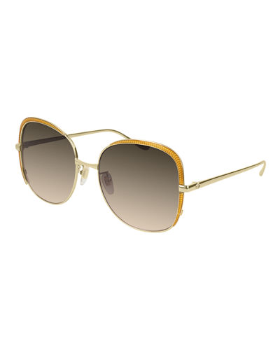 Square Metal Contrast-Front Sunglasses