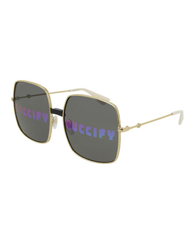 Angry Cat Rainbow Square Sunglasses