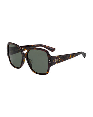 Stud 55Mm Special Fit Square Sunglasses - Dark Havana, Brown