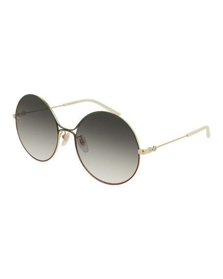 a81f27737 Gucci Metal Web-Front Round Sunglasses In Gold/Green/Red ...