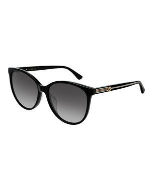 f000acd3b1 Gucci Round Acetate Sunglasses w  Web   Logo Temples