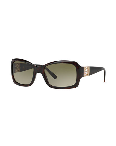 Rectangle Sunglasses w/ Double-T Cutout