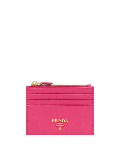 Saffiano Card Case With Zip Compartment