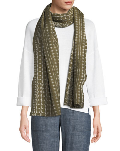 Printed Cotton-Blend Rectangular Scarf