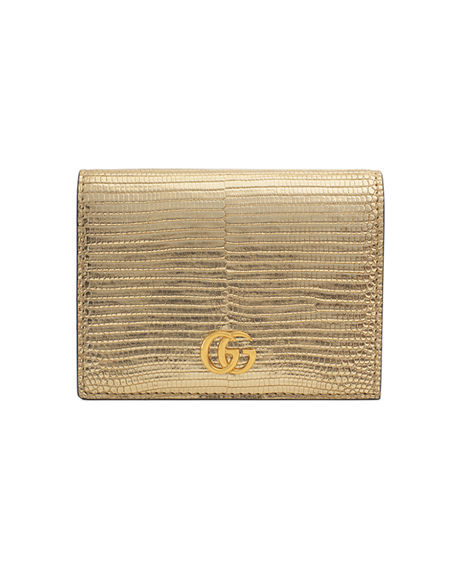 ee63b5d9aa381d Gucci Petite Marmont Laminated Lizard Flap Card Case In Gold | ModeSens
