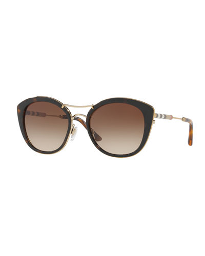 401128d414cbb Quick Look. Burberry · Round Sunglasses with Metal Trim