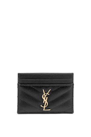 Saint Laurent Monogramme Grain de Poudre Leather Card Case, Golden Hardware