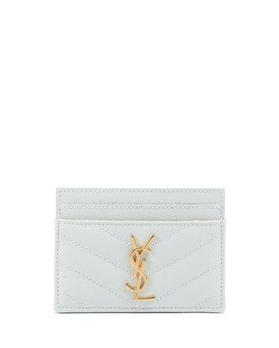 Saint Laurent Monogram YSL Matelasse Leather Card Case