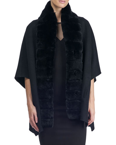 Wool Cape w/ Fur Trim