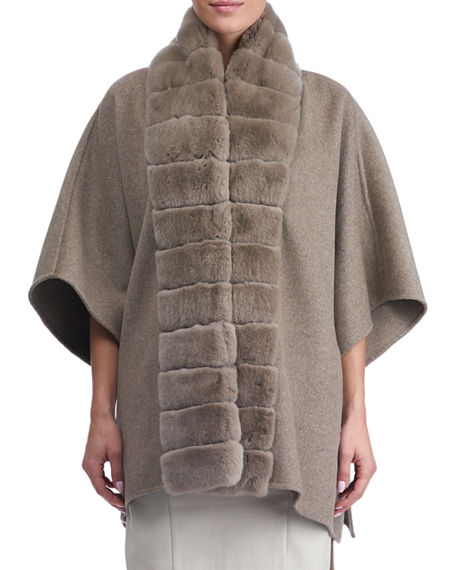 Gorski Wool Cape w/ Fur Trim