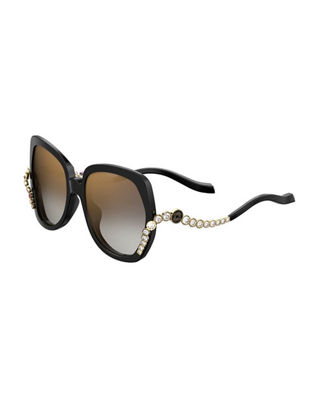 Square Acetate Sunglasses W/ Crystal Wave Arms in Black